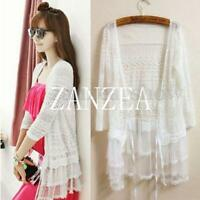 Women Boho Sheer Lace Floral Crochet Layers Long Cardigan Shirt Tops Coat Jacket