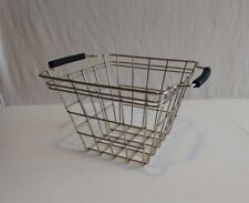 Chrome Silver Wire Square Basket with black rubber handles