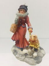 Lady w/Puppy/ Dog  O'Well Christmas Village Figurines 2 3/4""