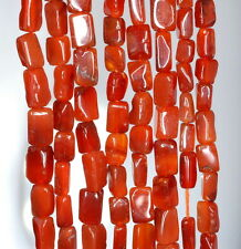 5X4-10X6MM RED CARNELIAN GEMSTONE RED ORANGE RECTANGLE TUBE LOOSE BEADS 14-15""