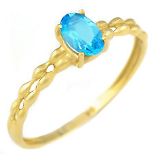 NATURAL SWISS BLUE TOPAZ 9K 9CT 375 SOLID  YELLOW GOLD RING SIZE N. GIFT BOXED.