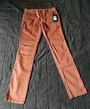 HURLEY Womens Peach Rust Pastel 100% Cotton Low Rise Pants Straight Cut Sz 0