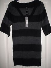 LADIES BLACK & GREY SHORT SLEEVED JUMPER NWT SIZE 6 - 8 E-VIE
