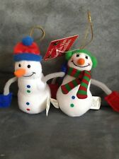 Hallmark Mini Kiss Kiss Collectible Vintage Snowmen Ornaments - New With Tags