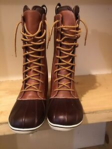 LL Bean Duck Boots Lace Up Womens Size 10 M Leather/Rubber