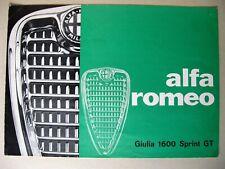 Prospekt brochure Alfa Romeo Giulia 1600 Sprint GT Tipo 105 Kantenhaube 1963? D