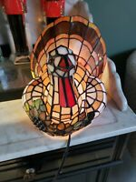 Vintage Tiffany Stained Glass Cracker Barrel Lighted Turkey Lamp w Box Excellent