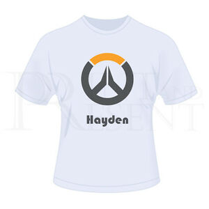 Personalised Childrens Boys Overwatch Game T-Shirt (White)