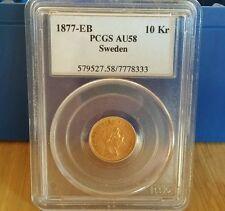 Goldmünze Schweden Kronor von 1877  PCGS AU58  10 Kronen RAR!!!