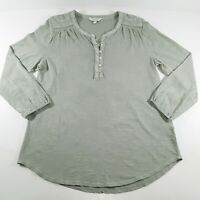 Lucky Brand Womens Peasant Top Shirt Size L Boho 100% Cotton Long Sleeve