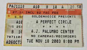 A PERFECT CIRCLE Concert Ticket Stub A.J. Palumbo Center NOV 18 2003 Pittsburgh