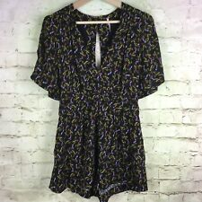 NEW Free People Romper Size 2 Women Shorts Playsuit Black Comb Butterfly Sleeves