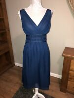 Lk Bennett Size 12 Navy Blue Ladies Smart Dress Flattering