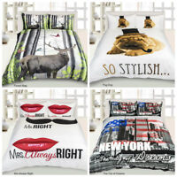 New 3D Animal Print Stag Pug New York Mrs Right Duvets Quilt Cover Bedding Set