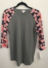 NWT LuLaRoe M Medium Randy Gray Pink Navy Disney Minnie Mouse baseball Tee