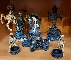 6 Diverse , wunderschöne Deko Gothic Figuren & Teelichthalter , Reaper usw.