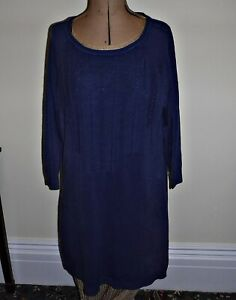 NEXT JUMPER MINI DRESS FRNCH NAVY SOFT FINE KNIT CABLE 3/4 SLEEVES 16 SMART