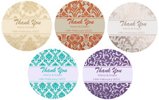 PERSONALISED DAMASK PATTERN ROUND STICKERS LABEL WEDDING PARTY FAVOUR MATT GLOSS