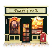 DIY Miniature Dollhouse Kit Tiny Green'Bar Pub with Light Child Gift New