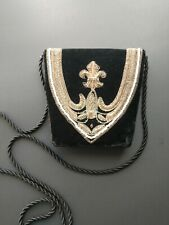 Small Black Velvet Gold & Pearl Embroidered Clutch Purse Vintage