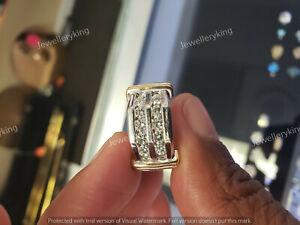 14K White Gold Finish 2.00 Ct Diamond Men's Round Cut Wedding Band Ring