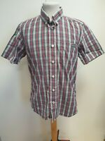 E698 MENS SUPERDRY RED BLUE YELLOW GREY CHECK SLIM FIT S/SLEEVE SHIRT UK L EU 52