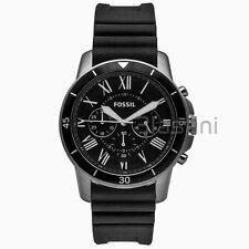 Fossil Original FS5254 Men's Grant Sport Black Silicone Watch 44mm Chronograph