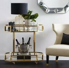 Stainless steel Gold framed drinks trolley with two mirrored shelve Gold Trolley