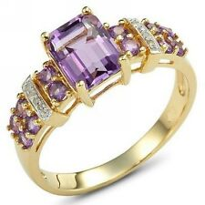Amazing Size 9 Anniversary Amethyst 18K Gold Filled AAA Solitaire Ring For Woman