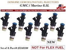 8 New Fuel Injectors Oem Delphi for 2007-2009 Chevrolet Suburban 2500 6.0L