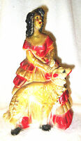 Vintage Art Deco Chalkware Carnival Prize, Lady and Borzoi/Wolfhound Dog
