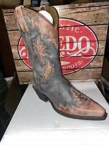 Laredo Mens Gray Leather W/ Brown Overlay Snip Toe Style 6769 Size 9D