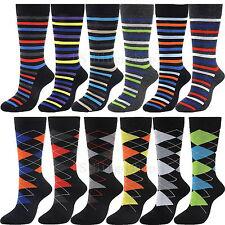12 Pairs YDS8+16 New Cotton Men Stripe Argyle Dress Socks Size 10-13 Multi Color
