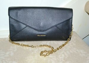 NWT $148 Vera Bradley Harper Clutch Bag on Chain Sycamore Black Leather