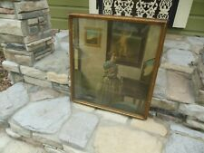 Antique Print Pressed Board Aitken & Dottson Framed Lady at the Virginal Vermeer