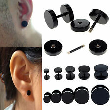 10pcs Black Stainless Steel Fake Cheater Ear Plugs Gauge Body Pierceing Earring