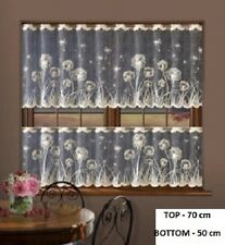 CAFE NET CURTAINS -TWO SIZES - SOLD BY METERS DANDELIONS  DESIGN ON BLACK WARP