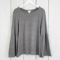 Ann Taylor LOFT LOUNGE Outlet sz Large Gray Pullover Knit Top Long Bell Sleeves