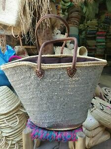 Large Moroccan handmade silver basket, the French market beach basket