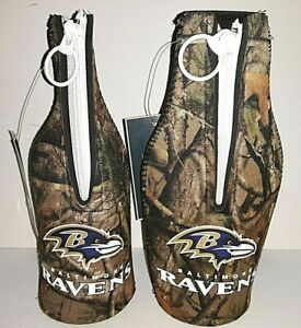 Baltimore Ravens NFL Camouflage  Zip - Up Bottle Koozie ( set of two )