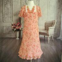 VTG David Warren Women's Spring Garden Party Dress Plus Size 14 NWT 100% Silk