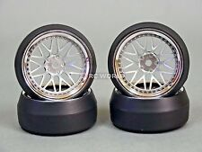 RC 1/10 DRIFT WHEELS Package 0 Degree 9MM Offset 3 PIECE SILVER W/ CHROME Lip