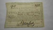 1789 Connecticut Pay Table Office Colonial Currency Note Bill Peter Colt Signed!