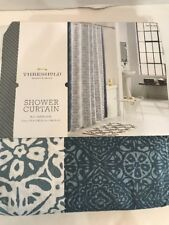Threshold Shower Curtain Matelasse Rotary Batik Print Cotton White Blue
