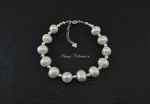 Large White Oval Freshwater Pearl Bracelet with Sterling Silver S925 Beads