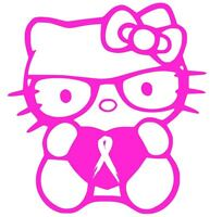"BREAST CANCER RIBBON HELLO KITTY DECAL 4"" vinyl car window sticker 13 COLORS"