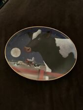 """Franklin Mint Lowell Herrero """"Harvest Moon"""" Oval Plate Limited Ed. Cows"""