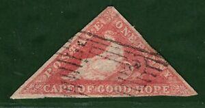 South Africa COGH *CAPE TRIANGULAR* SG.5a 1d Rose (1858) Used Cat £300 GRED58