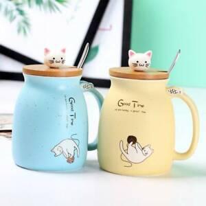 420ML Cat Kitten Ceramic Coffee Mug Tea Milk Water Cup Handle Lid Uk