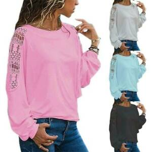 Women Lace Loose T-Shirt Ladies Casual Long Sleeve Shirts Blouse Tops Plus Size
